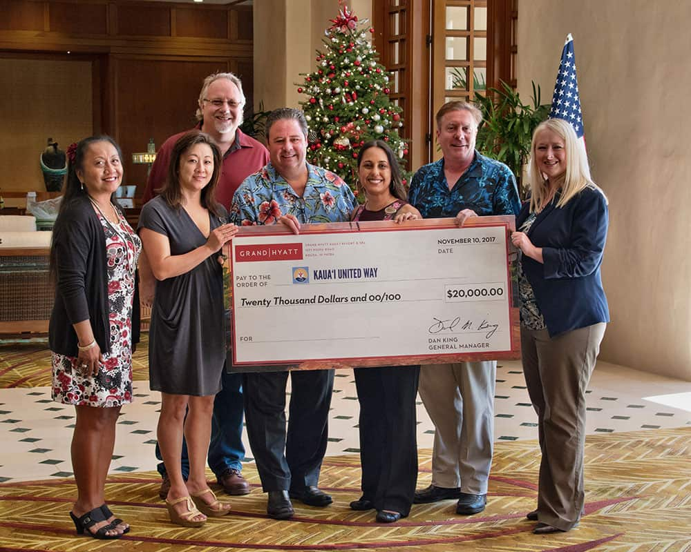 Grand Hyatt Kauai Resort General Manager Dan King proudly presented a check for $20,000