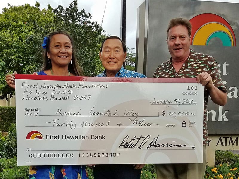 First Hawaiian Bank has provided a boost to the Kaua'i United Way Annual Campaign