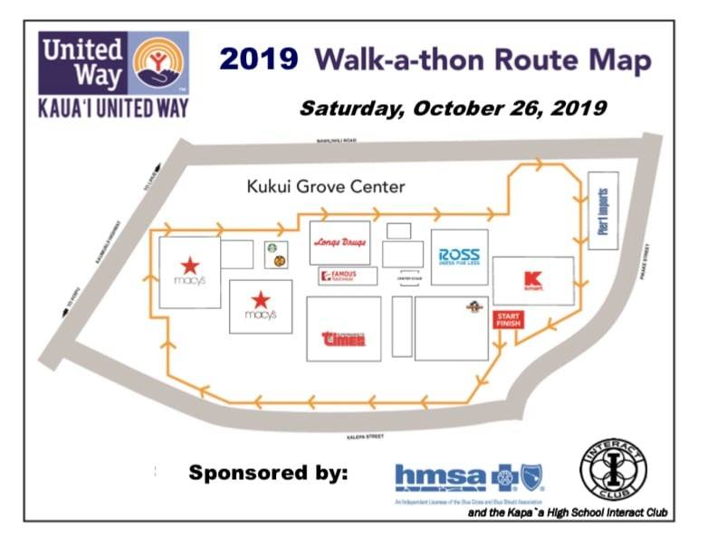 2019 Kauai United Way Walk a Thon Map