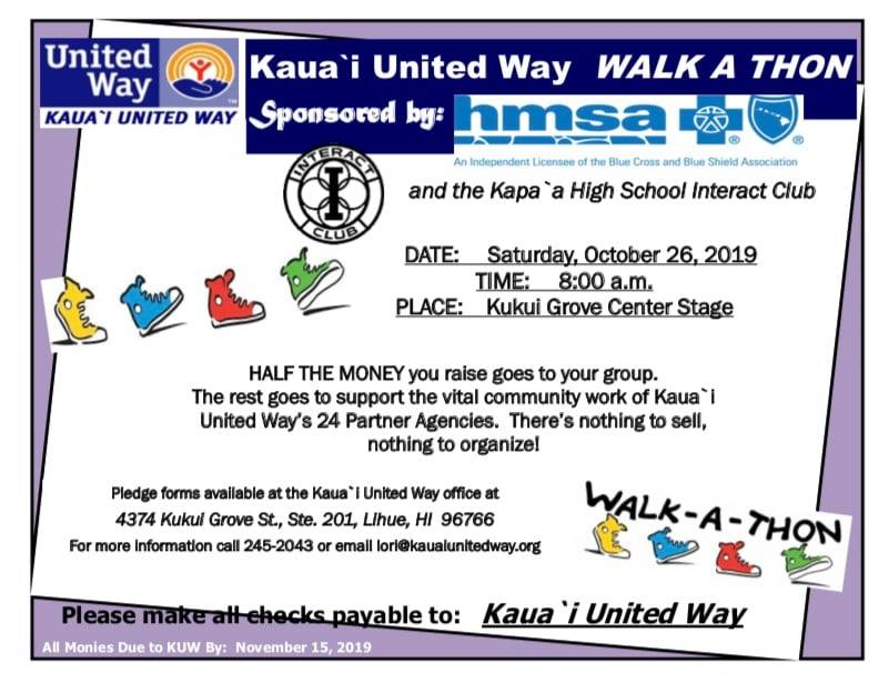 2019 Kauai United Way Walk a Thon Flyer