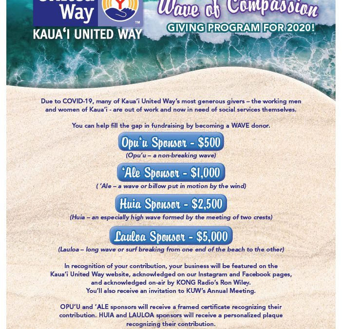 Join Kauai United Way's Wave of Compassion Giving Program for 2020